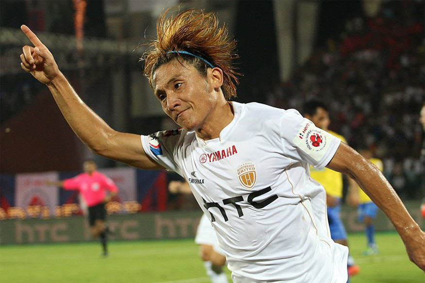 A file photo of NorthEast United FC's Katsumi Yusa celebrating a goal against Kerala Blasters. (ISL)