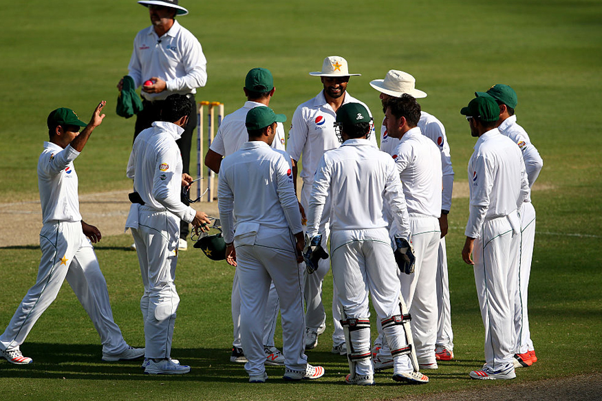 Pakistan players celebrating a wicket against West Indies during the first Test. (Getty Images)