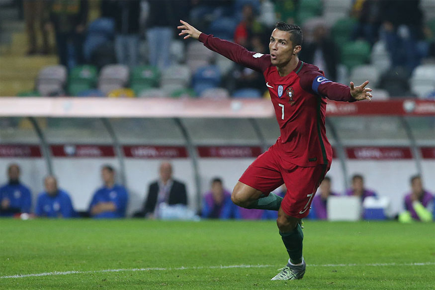Cristiano Ronaldo celebrates after scoring one of his four goals against Andorra in the 2018 World Cup qualifiers (Getty Images)