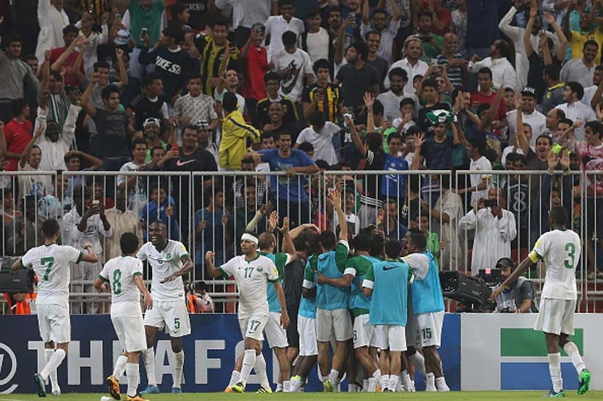 Players of Saudi Arabia celebrating their goal during 2018 FIFA WC qualifying match between Saudi Arabia and UAE. (Picture Credit: Getty Images)