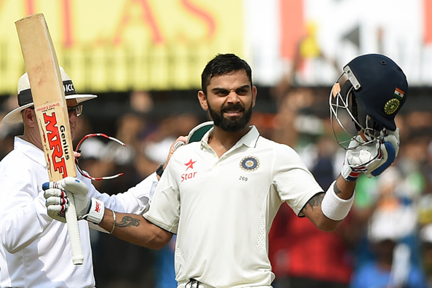 Skipper Virat Kohli celebrates after scoring his second double Ton on the 2nd  day of third Test match between India and New Zealand  at The Holkar Cricket Stadium in Indore on October 9, 2016. (Picture Credit: Getty Images)