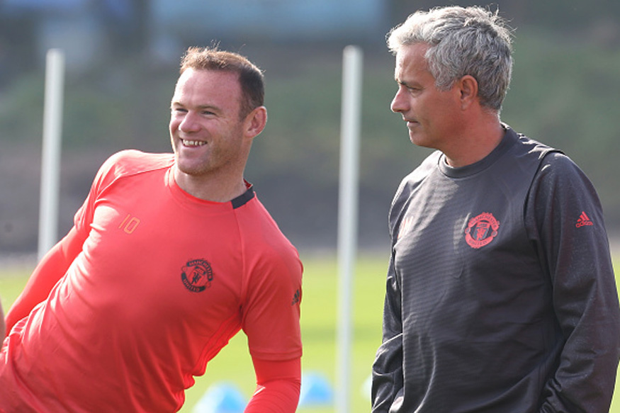 Manchester United manager Jose Mourinho with Wayne Rooney. (Getty Images)