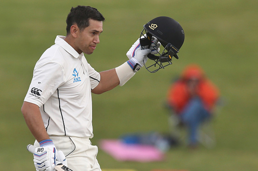 Ross Taylor celebrates after scoring a ton in Hamilton. (Getty Images)