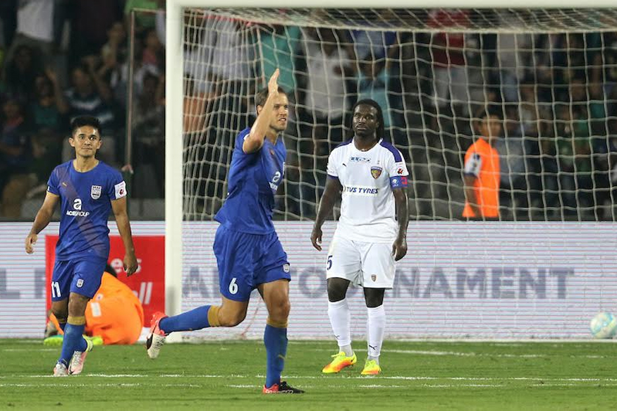 Krisztian Vadocz of Mumbai City FC in celebration after scoring team's second goal against Chennaiyin FC. (ISL)