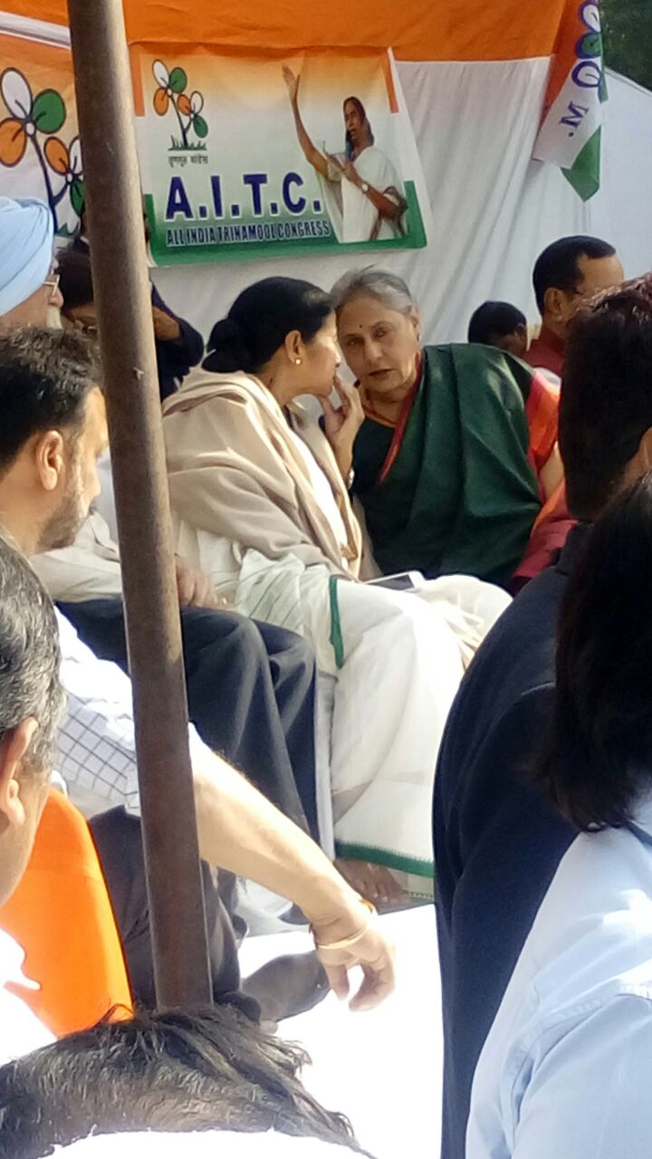 West Bengal Chief MInister Mamata Banerjee with actor and MP Jaya Bachchan at a Trinamool Congress-led protest at Jantar Mantar on Friday. (Photo: Narender Singh)