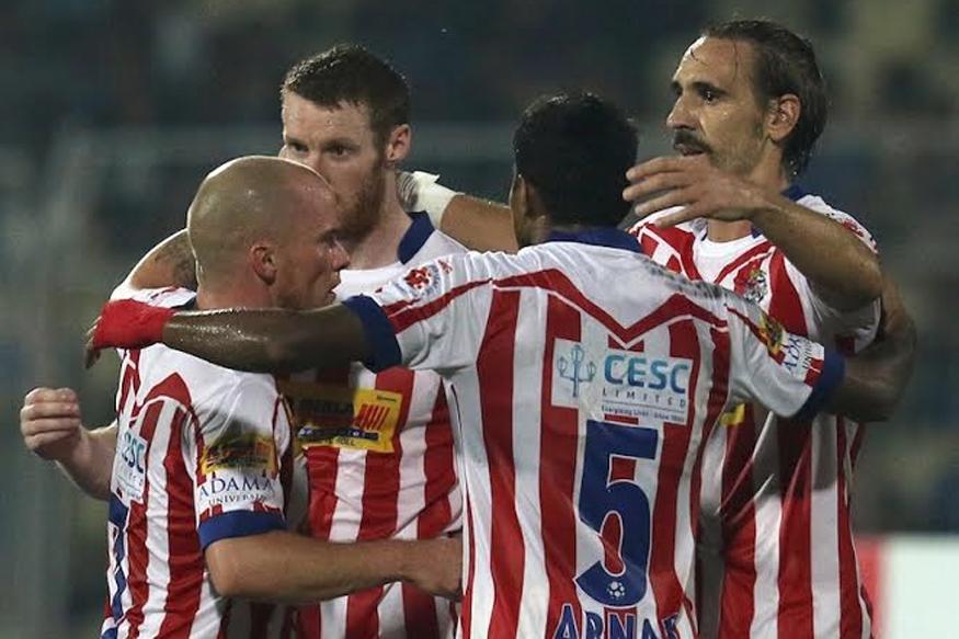 Atletico De Kolkata players celebrating after scoring a goal against FC Goa. (ISL)