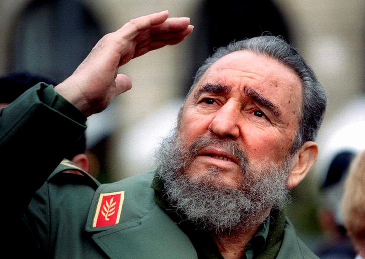 File photo of Cuba's President Fidel Castro during a visit to Paris