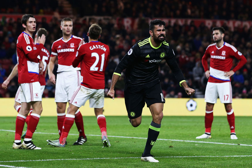 Diego Costa celebrates after scoring against Middlebrough in the English Premier League. (Getty Images)
