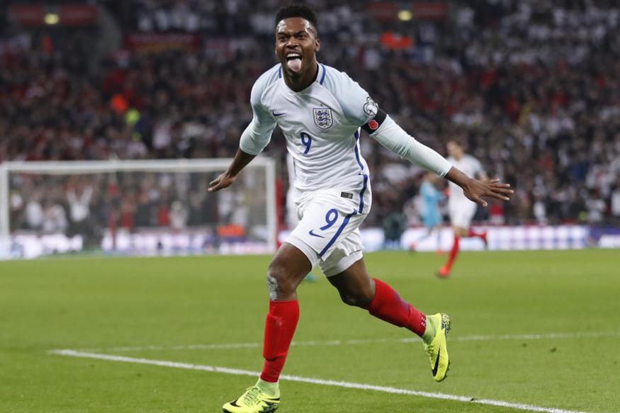 England's Daniel Sturridge celebrating after his goal against Scotland. (Reuters)