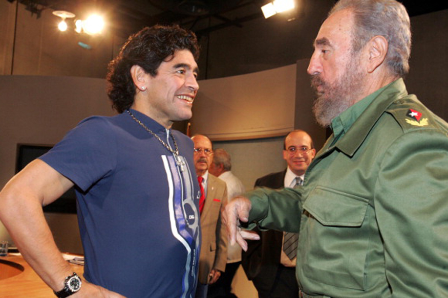 A file photo of Diego Maradona and Fidel Castro. (Getty Images)