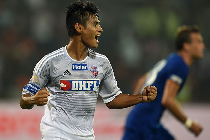 FC Pune City player Eugeneson Lyngdoh celebrates after scoring a goal during the Indian Super League (ISL) football match between FC Pune City and Mumbai City FC at The Mumbai Football Arena in Mumbai. (Getty Images)