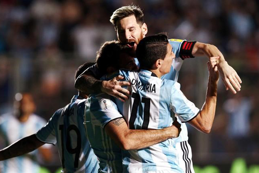 Lionel Messi celebrating with his teammates after scoring a goal against Colombia. (Reuters)