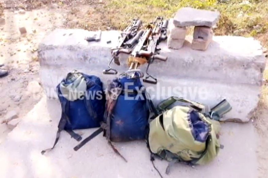 Weapons and belongings of the terrorists. (Photo: CNN-News18)