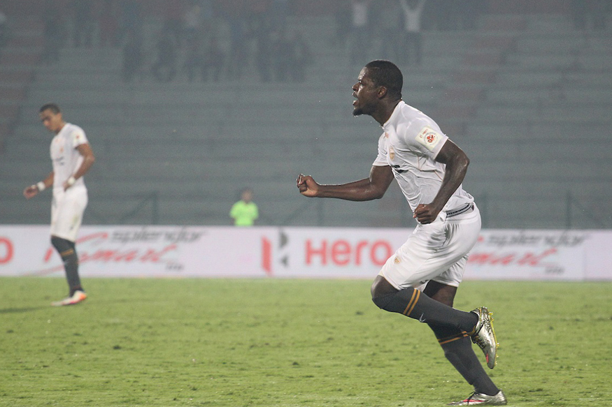 A file photo of NorthEast United FC midfielder Romaric celebrating a goal. (ISL)