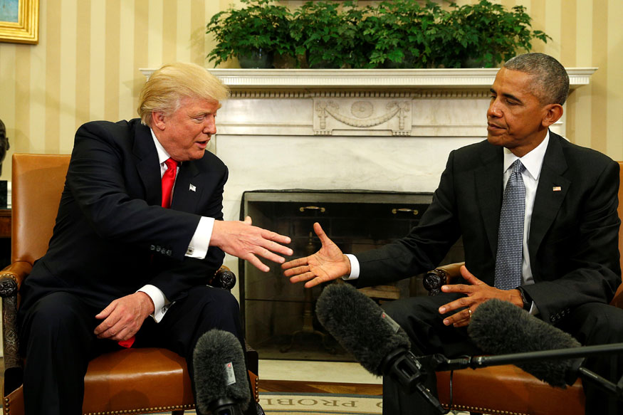 Barack Obama meets with Donald Trump in the Oval Office of the White House.   (Photo Credit: Reuters)