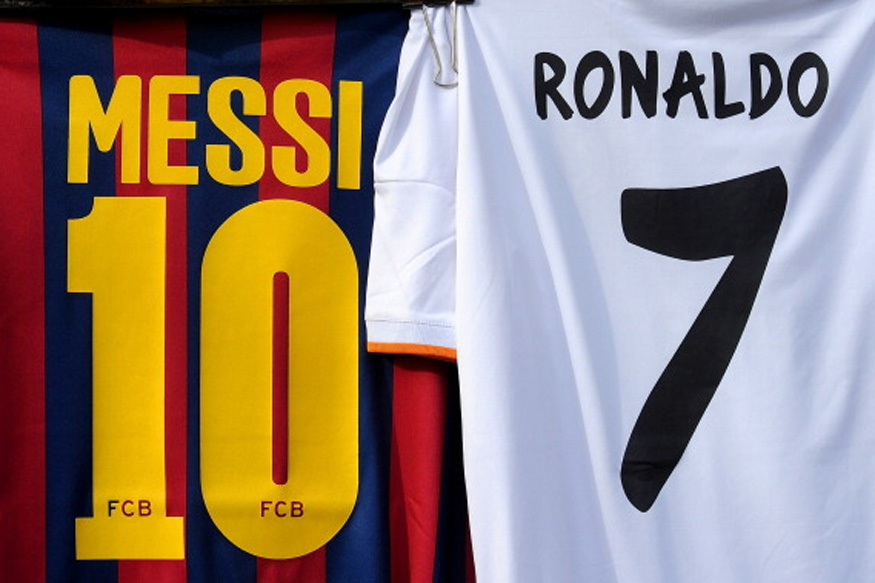Image of Lionel Messi and Cristiano Ronaldo T-Shirts. (Getty Images)
