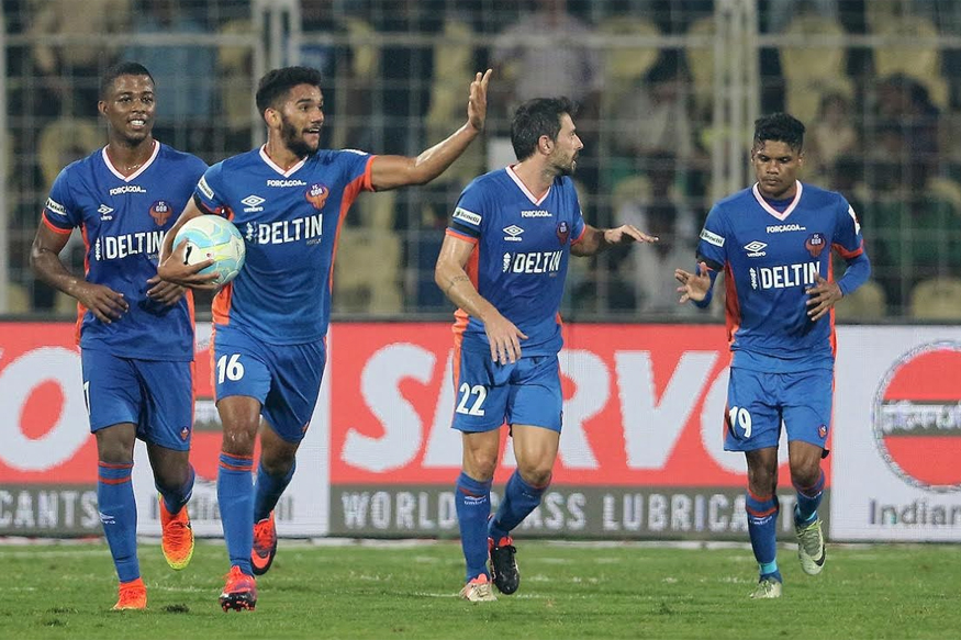 A file photo of FC Goa players celebrating a goal against Chennaiyin FC. (ISL)