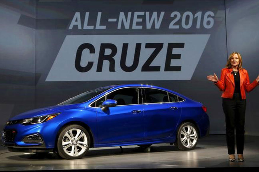General Motors CEO Mary Barra talks about the new 2016 Chevy Cruze vehicle at the Filmore Theater in Detroit, Michigan, June 24, 2015. (Photo: Reuters)