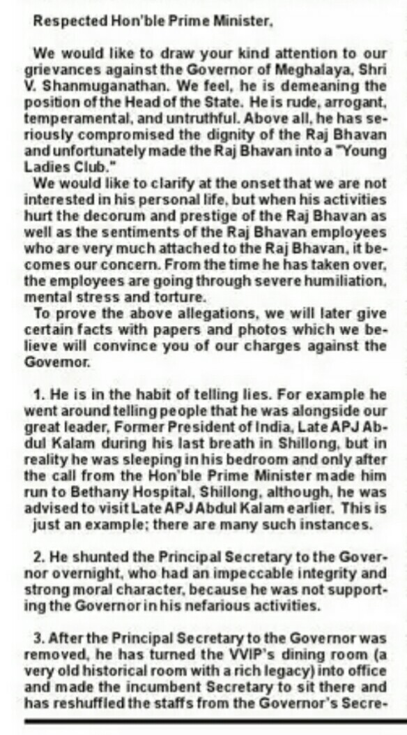 The letter written by the Raj Bhavan staff to the Prime Minister, President and Meghalaya Chief Minister. (News18)