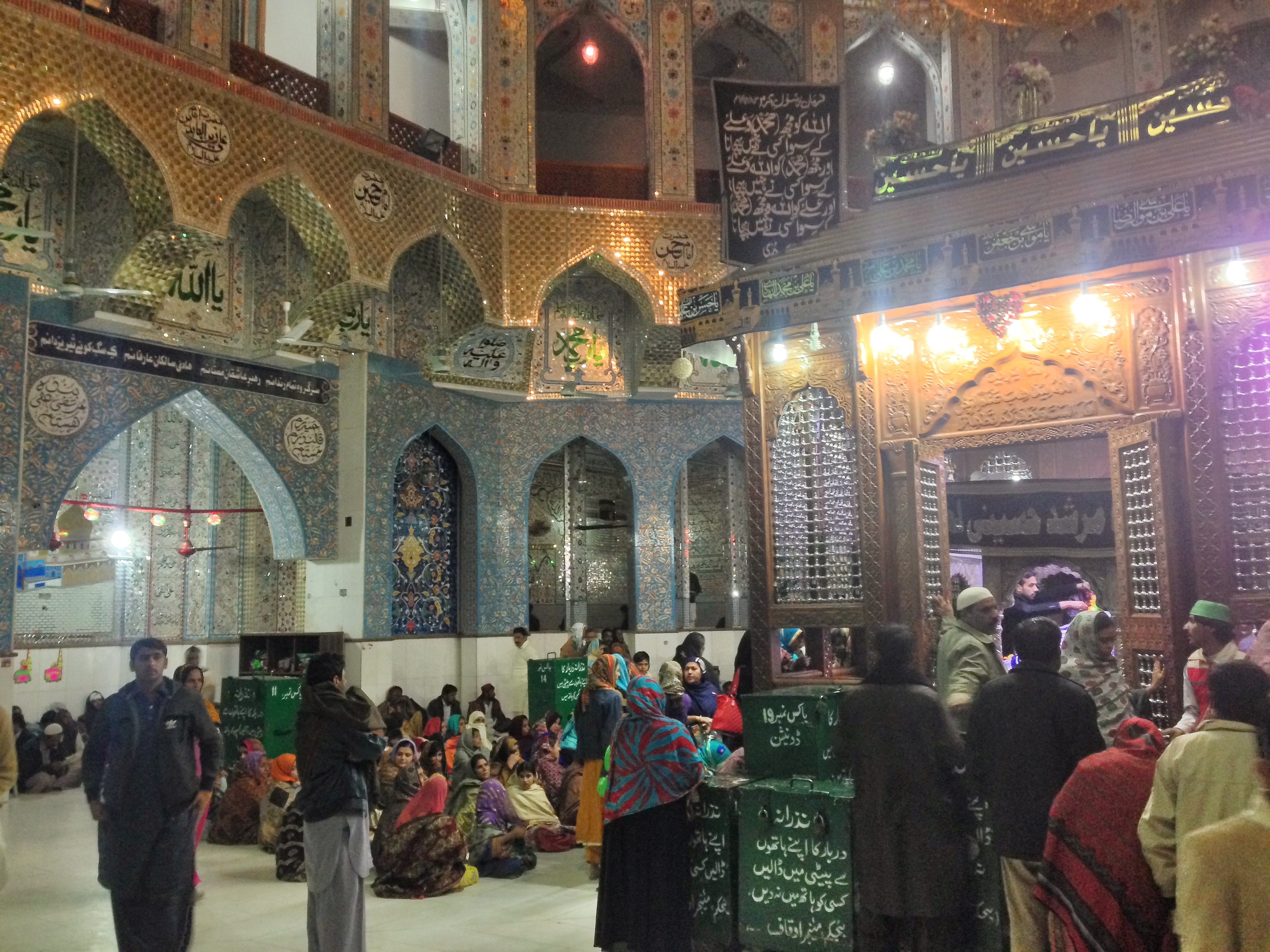 The inner sanctum of the Shrine is much quieter than the outer-courtyard, where the Dhamaal takes place. Here, worshippers pay their religious dues to the Sufi Saint and indulge in Zikr, a form of rhythmic devotion.