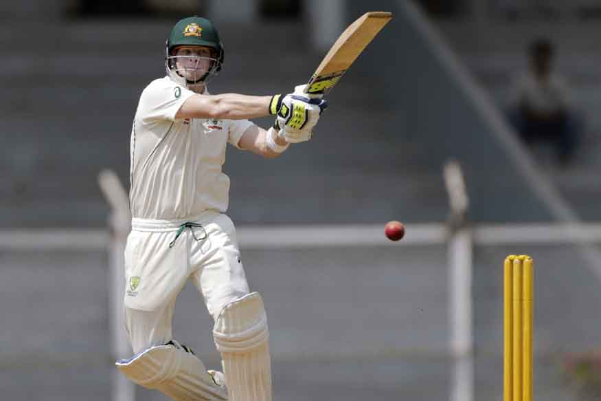 Australia cricket test team captain Steven Smith bats during practice match against India XI in Mumba. (AP Photo)