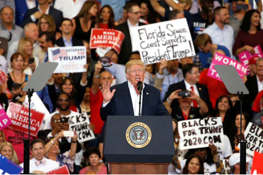 Back on the Campaign Trail Already, Trump Touts Promises Kept