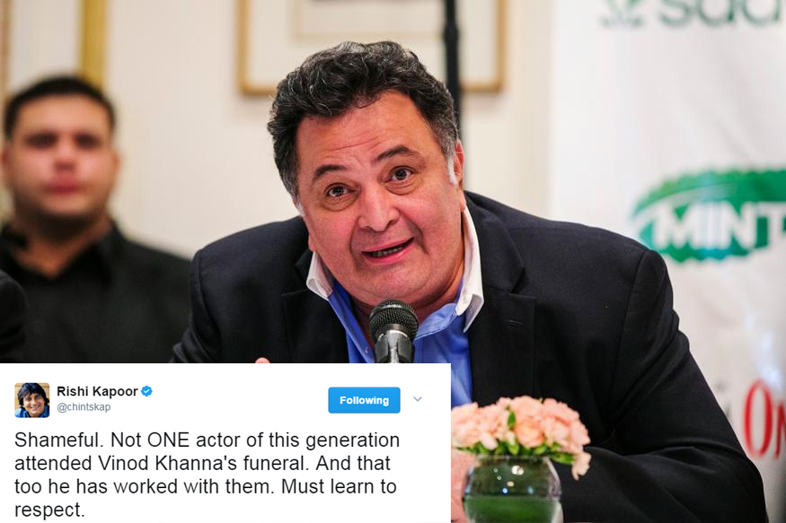 Rishi Kapoor Criticises Young Actors for Not Attending Vinod Khanna's Funeral