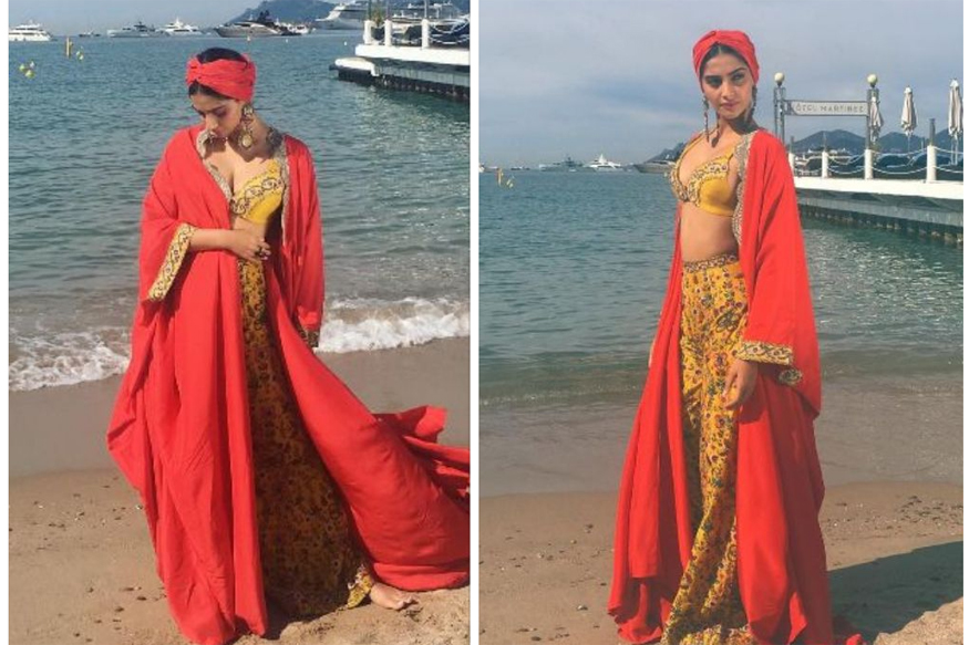Image result for Sonam Kapoor Looks Resplendent In a Boho-Chic Outfit At Cannes 2017