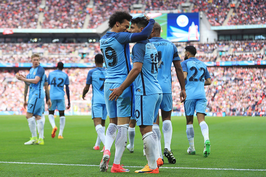 Aguero, Sane On Target as Manchester City Rout Crystal Palace 5-0