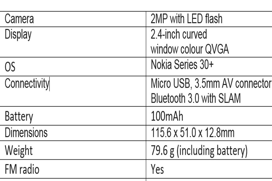 nokia-3310-2017-specifications
