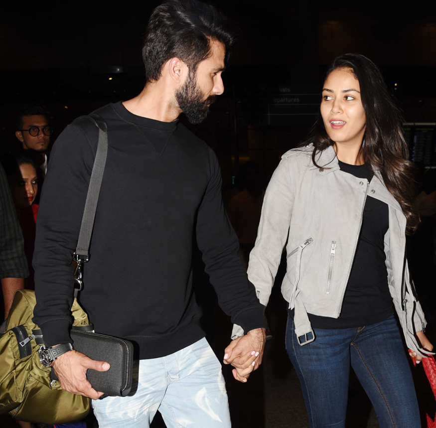 Shahid Kapoor and Mira Rajput are couple goals at the airport