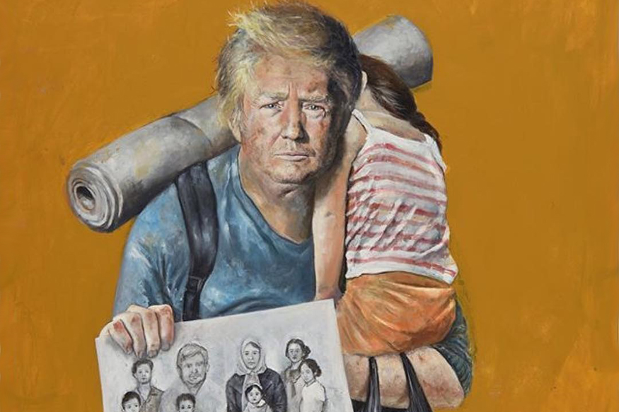 Image result for Syrian Artist Paints Trump, Putin And Other World Leaders as Refugees