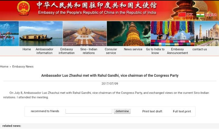 Rahul Gandhi meets Chinese, Bhutanese envoys amid Chinese aggression
