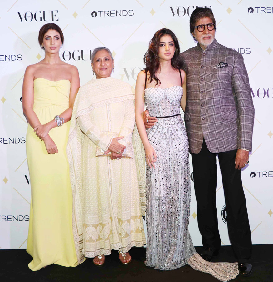 Shweta Nanda Bachchan, Jaya Bachchan Navya Naveli and Amitabh Bachchan pose for photographers upon arrival at the 'Vogue Beauty Awards 2017' on Wednesday in Mumbai. (Image: Yogen Shah)