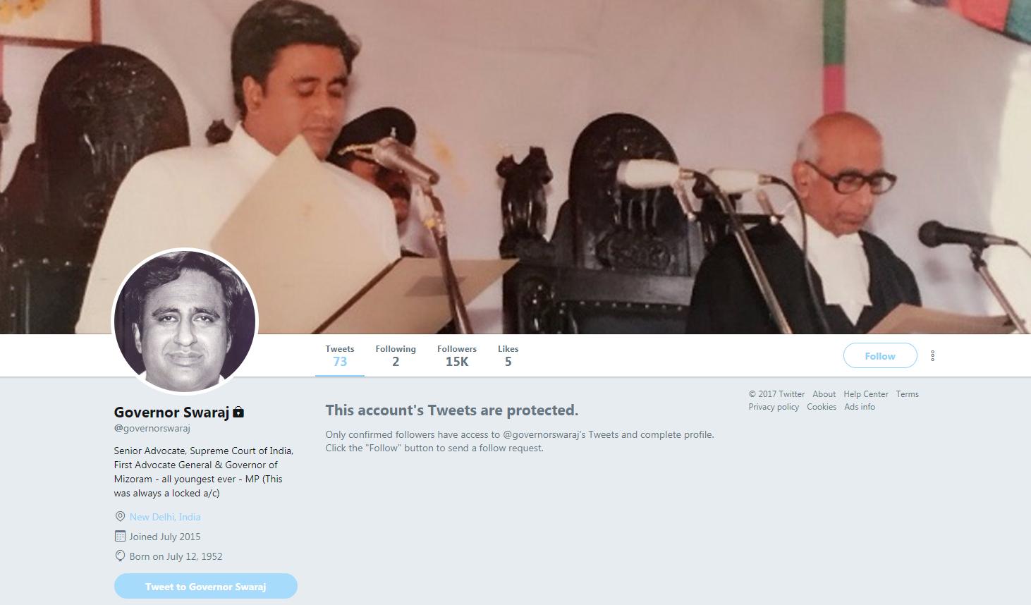 governor swaraj protected