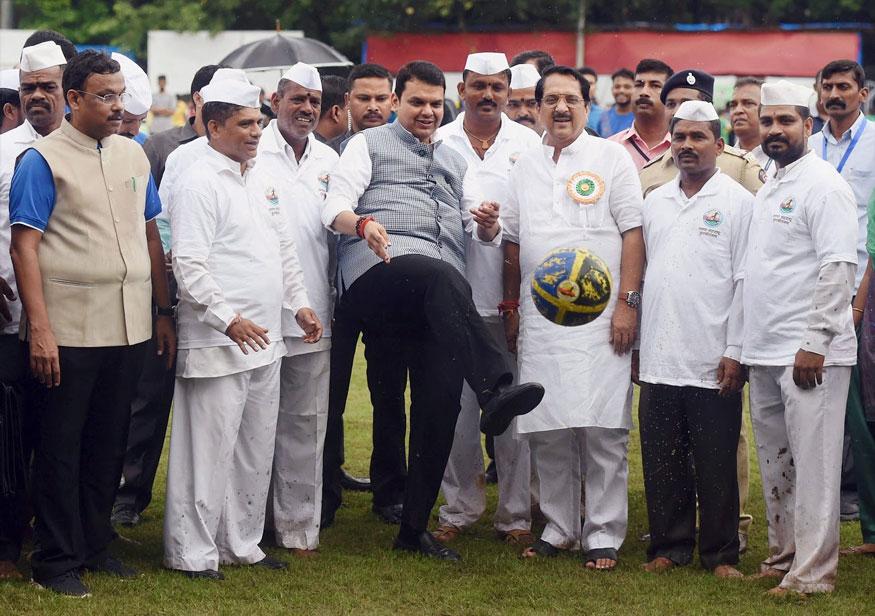 Mumbai: Maharashtra Chief Minister Devendra Fadnavis launches 'Maharashtra Mission 1 Million' initiative in Mumbai on Friday. Over 10 lakh students across the state played football under the initiative. (Image: PTI)