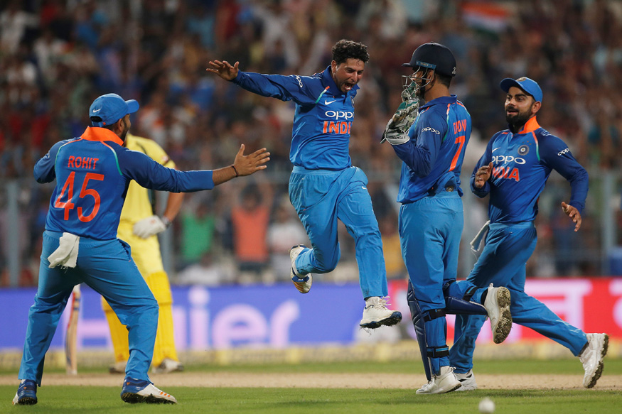 Image result for dhoni kuldeep yadav hat trick wickets
