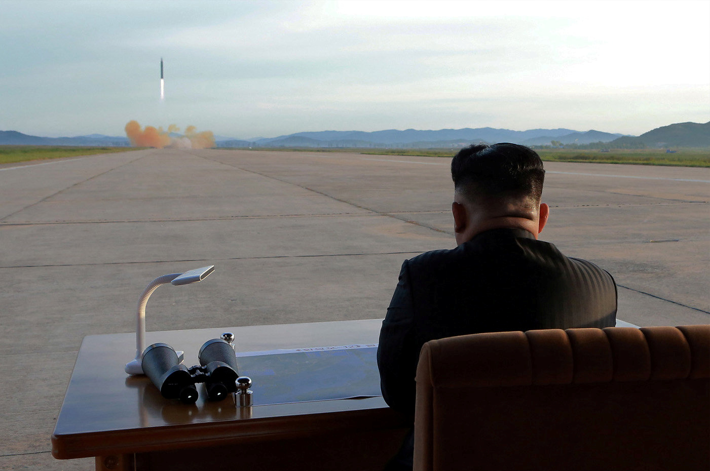 North Korean leader Kim Jong-un watches the launch of a Hwasong-12 missile in this undated photo released by North Korea's Korean Central News Agency (KCNA) on September 16, 2017.  (Image: Reuters)
