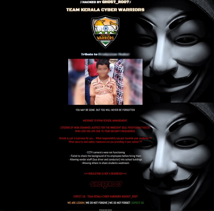 Ryan school website hacked