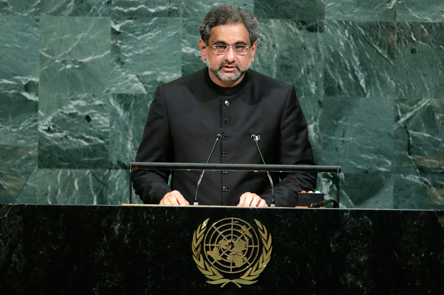 Paki PM Abbasi Raises Kashmir Bogey at UN, Warns India Against 'Limited War'