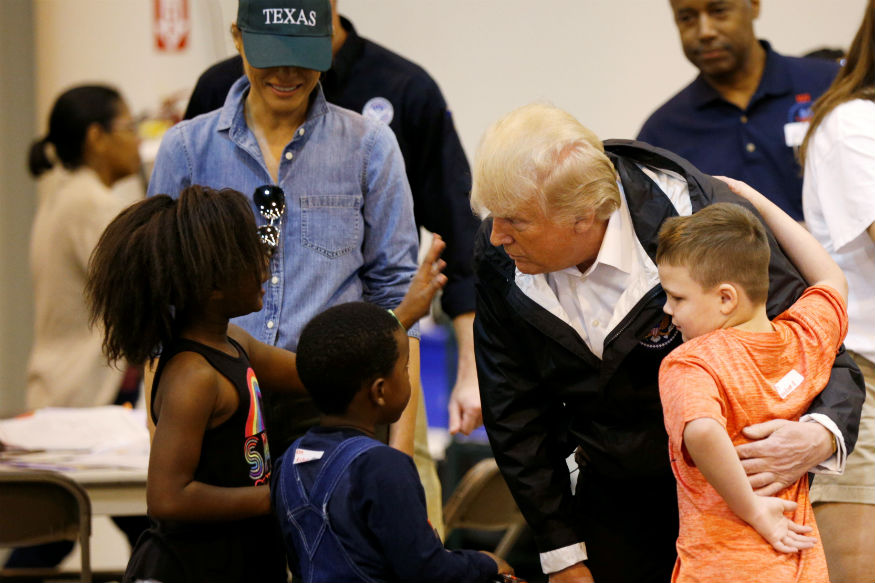 U.S. President Donald Trump and first lady Melania Trump visit with flood survivors of Hurricane Harvey at a relief center in Houston, Texas, U.S., September 2, 2017. (Photo: REUTERS)