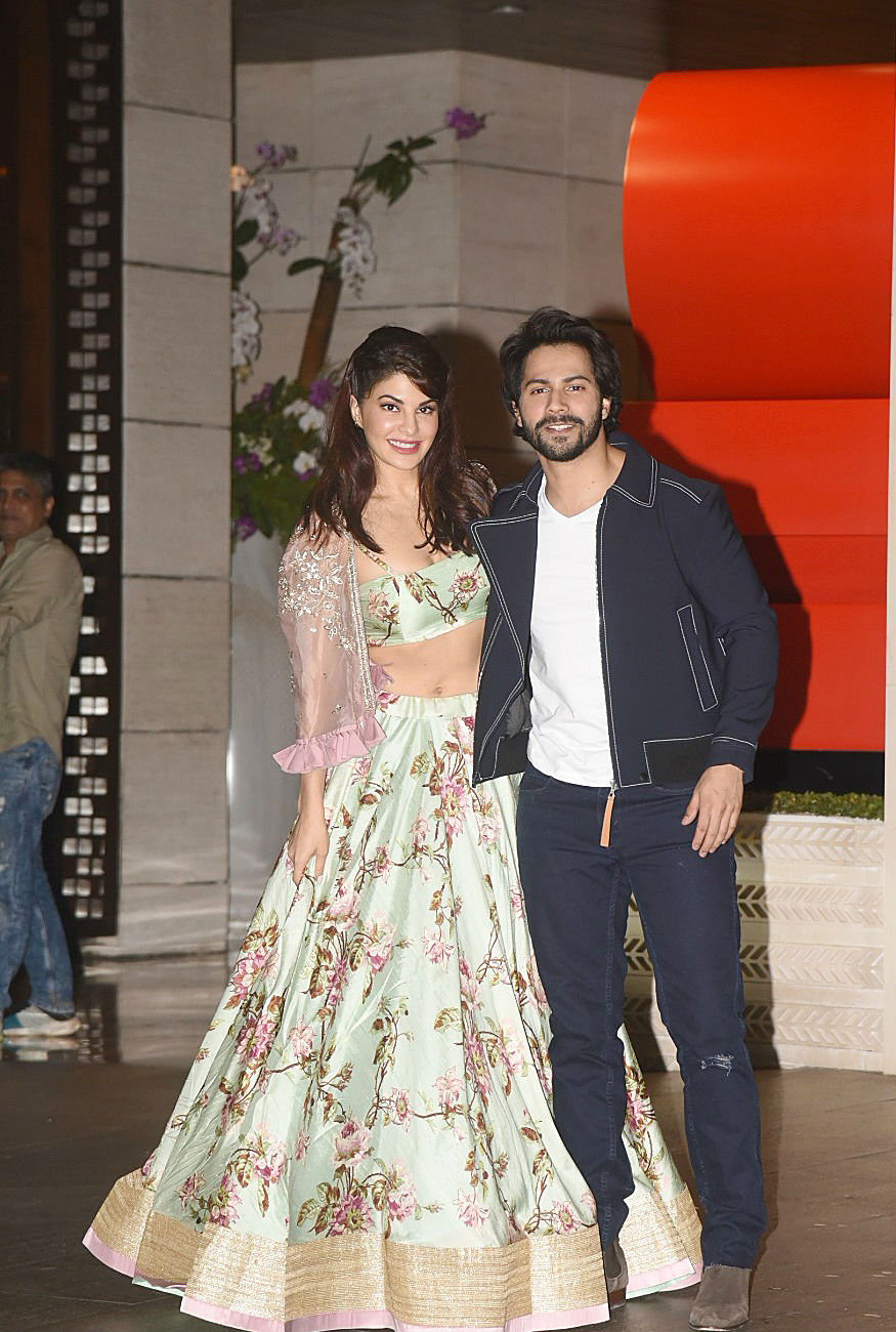 (Photo: Jacqueline Fernandez and Varun Dhawan at the Ambani bash/ Yogen Shah)