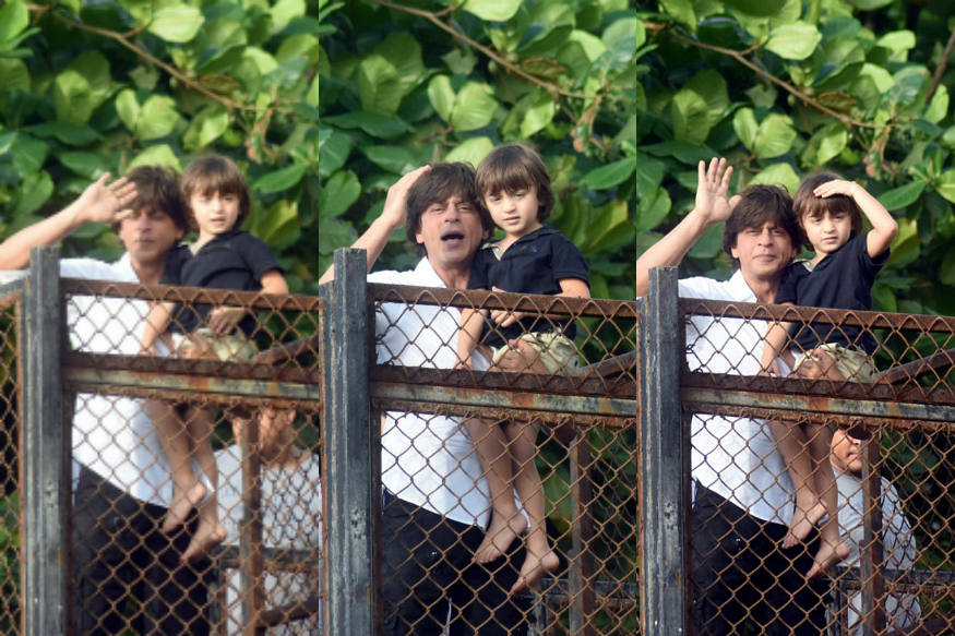 Shah Rukh Khan and AbRam greet fans on Eid at Mannat