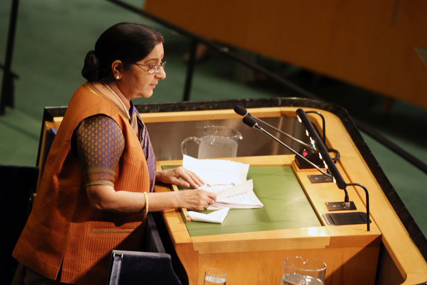 At UN, Sushma Sends Veiled Message to China on Fighting Terror
