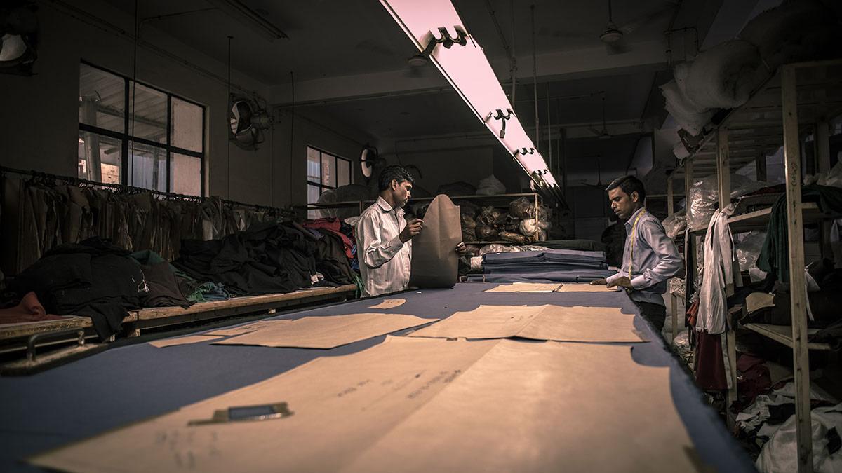 Workers preparing patterns