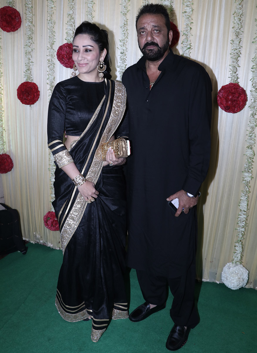 Sanjay Dutt poses with his wife Manyata Dutt during Ekta Kapoor's Diwali party hosted at her residence in Mumbai on October 17, 2017. (Image: Yogen Shah)