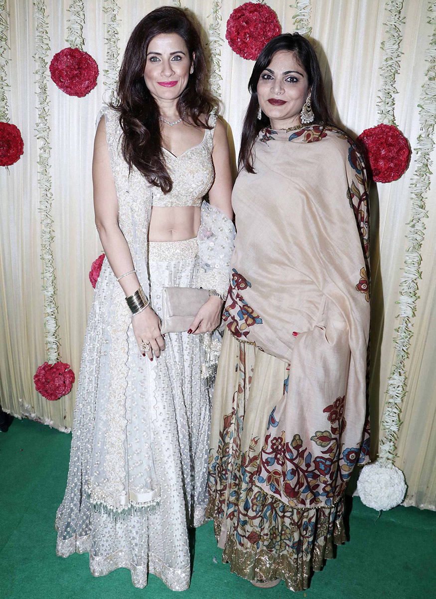 Alvira Khan Agnihotri with a guest at Ekta Kapoor's Diwali party hosted at her residence in Mumbai on October 17, 2017. (Image: Yogen Shah)