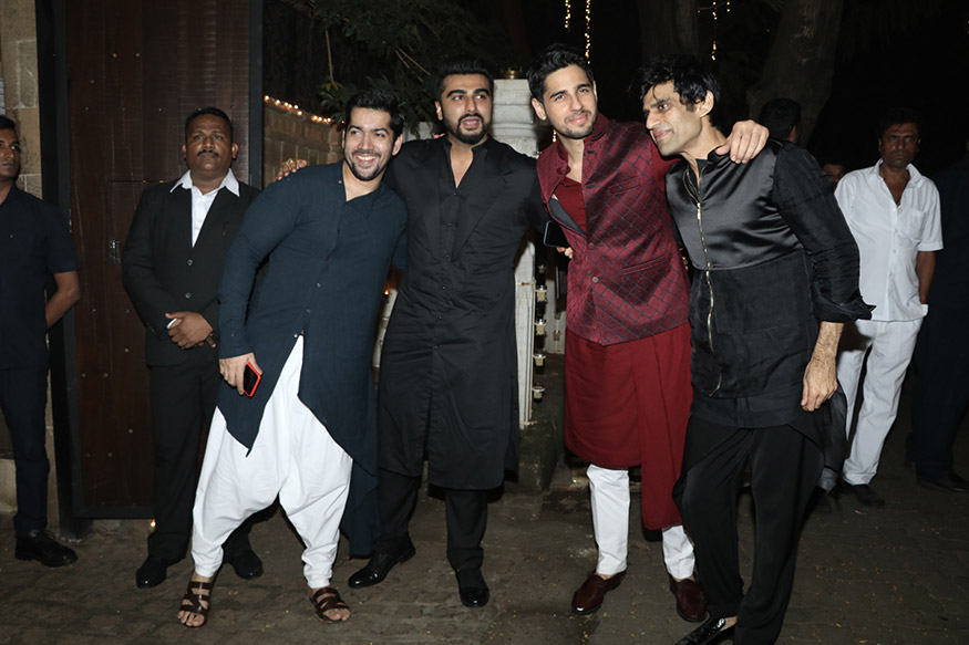 Rohit Dhawan, Arjun Kapoor, Siddharth Malhotra and Juno Chopra pose for a photo during Anil Kapoor's grand Diwali party held at his residence in Mumbai on October 19, 2017. (Image: Yogen Shah)