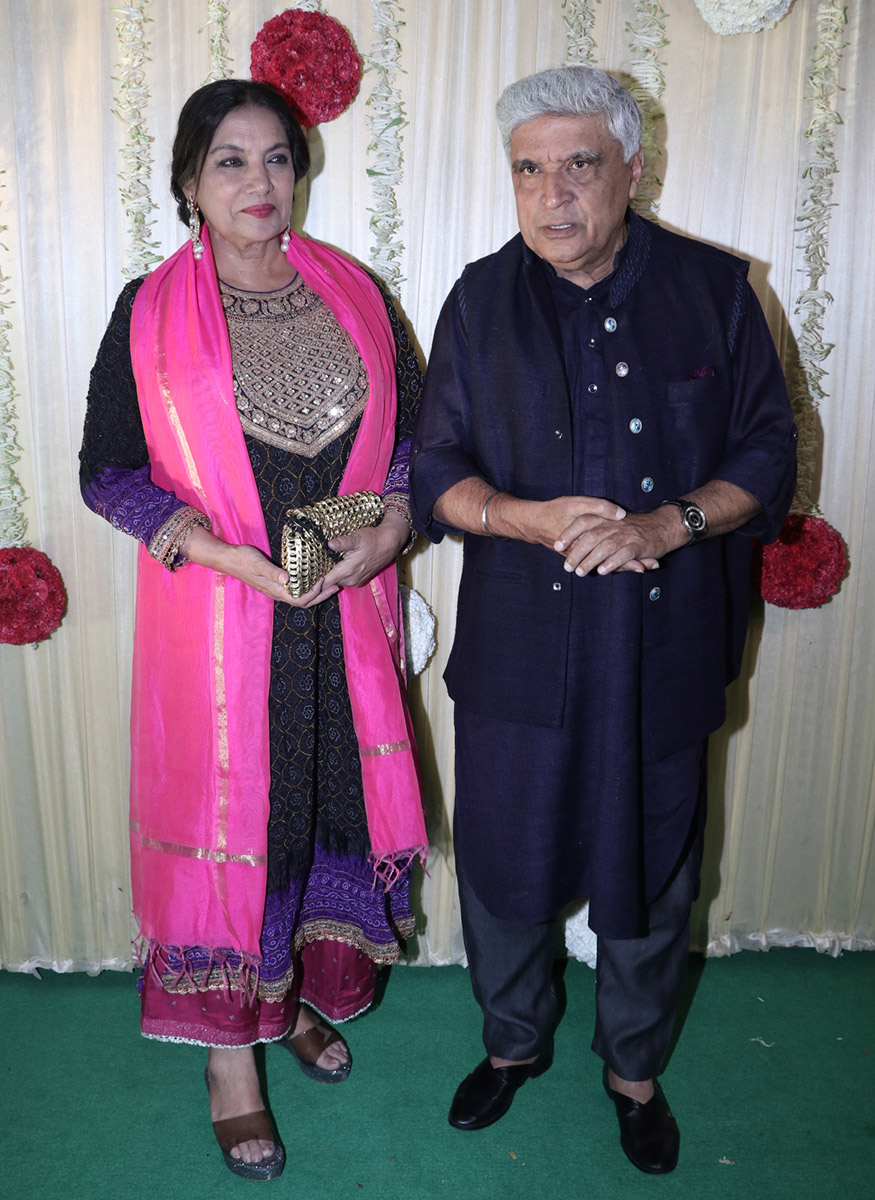 Shabana Azmi and Javed Akhtar during Ekta Kapoor's Diwali party hosted at her residence in Mumbai on October 17, 2017. (Image: Yogen Shah)