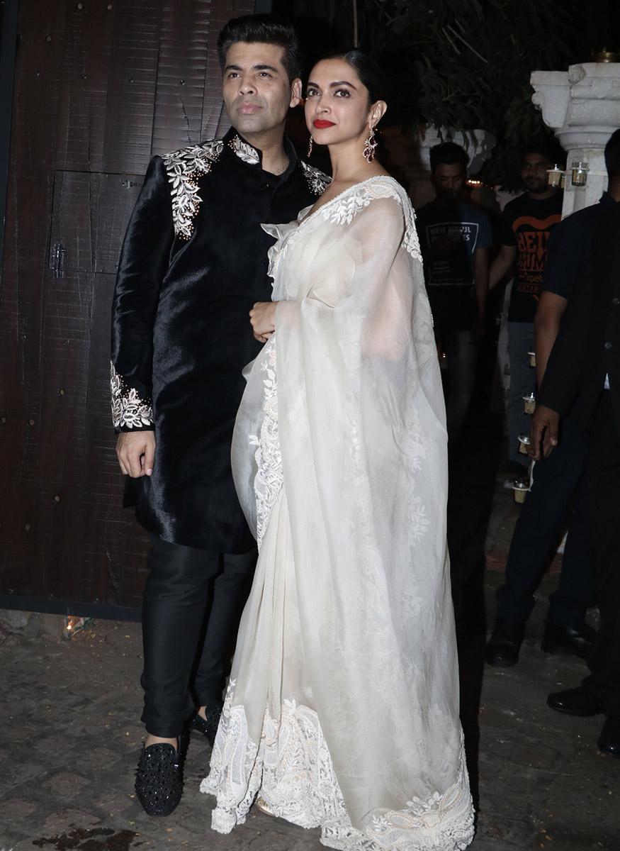 Karan Johar poses with Deepika Padukone during Anil Kapoor's Diwali party hosted at his residence in Mumbai on October 19, 2017. (Image: Yogen Shah)